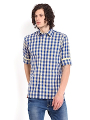 Allen Solly Men Blue & Yellow Checked Sport Fit Casual Shirt