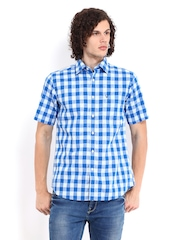 Allen Solly Men Blue Checked Sport Fit Casual Shirt