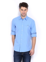 Allen Solly Men Blue Custom Fit Casual Shirt