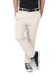 Allen Solly Men Cream-Coloured Custom Slim Fit Trousers