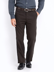 Allen Solly Men Dark Brown Smart-Casual Trousers