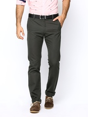 Allen Solly Men Dark Grey Custom Slim Fit Chino Trousers