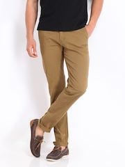 Allen Solly Men Dark Khaki Trenim Fit Chino Trousers