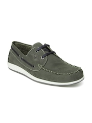 Allen Solly Men Green Leather Boat Shoes