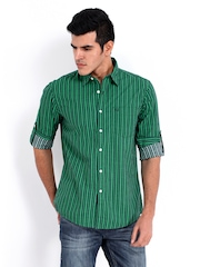 Allen Solly Men Green Striped Custom Fit Casual Shirt
