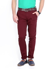 Allen Solly Men Maroon Trenim Slim Fit Chino Trousers