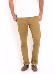 Allen Solly Men Brown Linen Blend Smart Fit Trousers