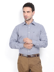 Allen Solly Men Navy & White Checked Sport Fit Smart-Casual Shirt