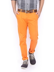 Allen Solly Men Orange Trenim Fit Chino Trousers