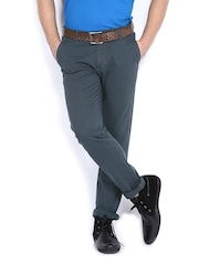 Allen Solly Men Teal Blue Trenim Fit Chino Trousers