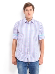 Allen Solly Men White & Blue Checked Sport Fit Casual Shirt