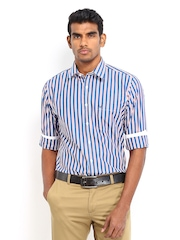 Allen Solly Men White & Navy Striped Sport Fit Casual Shirt