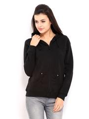 Allen Solly Woman Black Hooded Sweatshirt