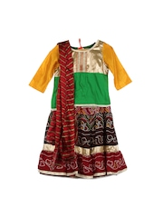 Alpna Kids Girls Green & Maroon Lehenga Choli with Dupatta