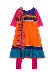 Alpna Kids Girls Orange & Pink Churidar Kurta with Dupatta