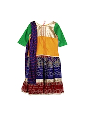 Alpna Kids Girls Yellow & Blue Lehenga Choli with Dupatta
