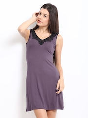 Amante Women Purple Lace Nightdress SGVM01