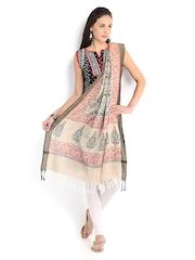 Amare Women Beige Cotton Silk Printed Dupatta