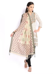 Amare Women Beige Printed Cotton Silk Dupatta