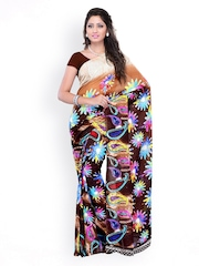 Brown Georgette Printed Saree Ambaji