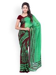 Green & Coffee Brown Georgette Printed Saree Ambaji