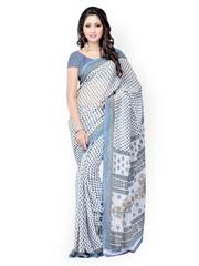White & Blue Dani Georgette Printed Saree Ambaji