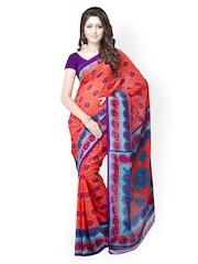 Red & Purple Dani Georgette Printed Saree Ambaji
