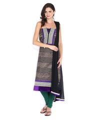 Ambica Black & Purple Georgette Semi-Stitched Dress Material