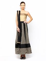 Ambica Black Embroidered Anarkali Semi-Stitched Dress Material