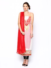 Ambica Cream Coloured & Red Embroidered Semi-Stitched Dress Material
