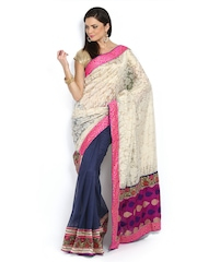 Ambica Off-White & Navy Brasso Fashion Saree