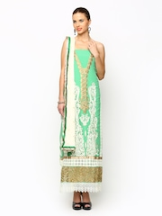 Ambica Green Embroidered Semi-Stitched Dress Material