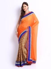 Ambica Orange & Light Brown Chiffon Fashion Saree