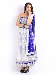 Ambica White & Blue Georgette Semi-Stitched Dress Material