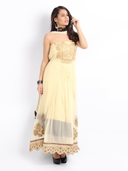 Ambica Cream Coloured Georgette Semi-Stitched Dress Material