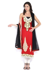 Ambica Red Embroidered Georgette Semi-Stitched Dress Material