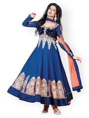 Ambica Blue & Orange Embroidered Georgette & Velvet Unstitched Dress Material