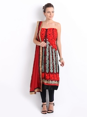 Ambica Red & Black Georgette & Chiffon Semi-Stitched Dress Material
