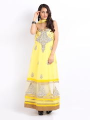 Ambica Yellow Georgette Semi-Stitched Dress Material