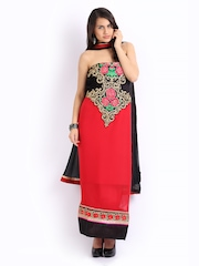 Ambica Red & Black Georgette Semi-Stitched Dress Material