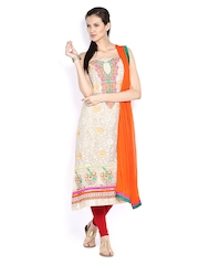 Ambica Beige Georgette Semi-Stitched Dress Material