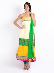 Ambica Off-White & Yellow Georgette Semi-Stitched Dress Material