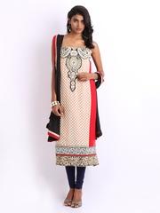 Ambica Beige & Red Georgette & Chiffon Semi-Stitched Dress Material