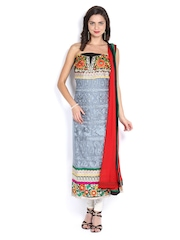Ambica Grey & Red Georgette Semi-Stitched Dress Material