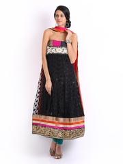 Ambica Black Georgette Semi-Stitched Dress Material