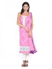 Ambica Pink Embroidered Georgette Semi-Stitched Dress Material