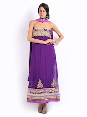 Ambica Purple Georgette Semi-Stitched Dress Material