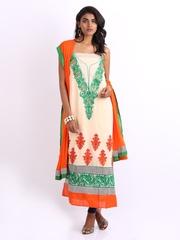 Ambica Cream Coloured & Orange Georgette & Chiffon Semi-Stitched Dress Material