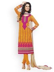 Ambica Orange Georgette Semi-Stitched Dress Material