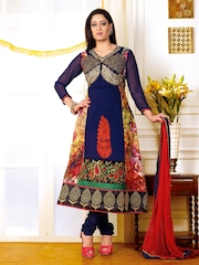 Ambica Navy Georgette Semi-Stitched Anarkali Dress Material